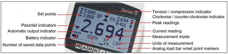 chế độ hiển thị trên màn hình của đồng hồ đo lực căng 5i mark 10