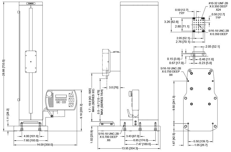 Description: Bản vẽ kích thước máy đo lực kéo-nén đa năng ESM303 Mark 10