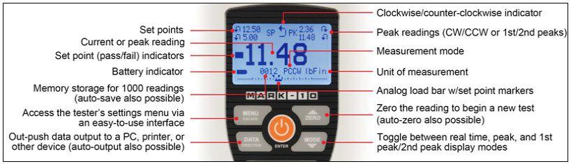 màn hình máy đo lực vặn nắp chai TT01 mark 10