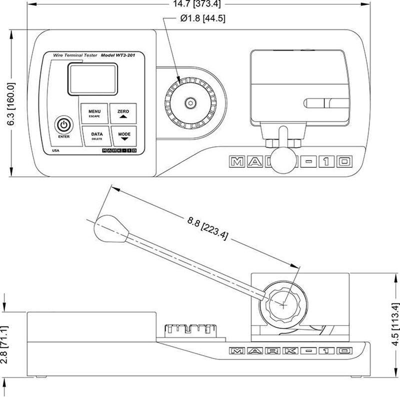 kích thước dụng cụ đo lực kéo dây mark 10